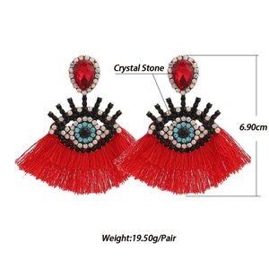 Super cool eye dangle tassel earrings